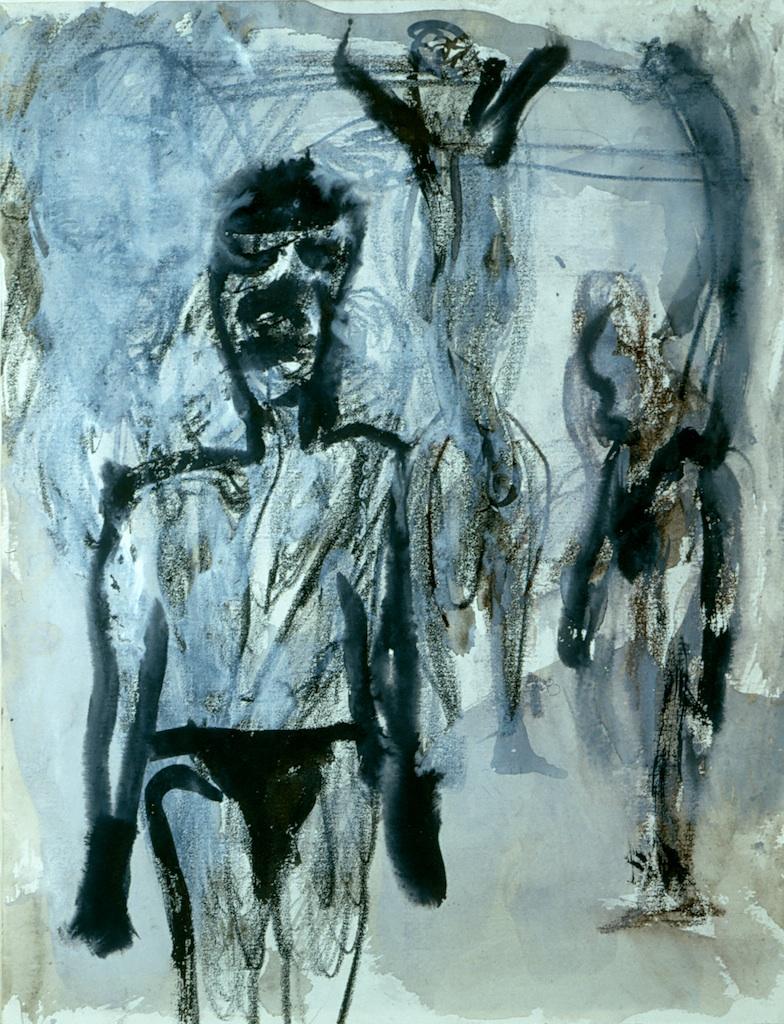 Martin Disler, SenzaTitolo, 1989, 24x31cm, tecnica mista su carta, Courtesy Studio d'Arte Cannaviello