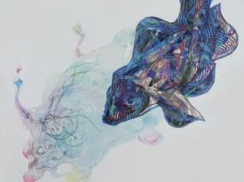 Sotto l'acqua sono un pesce. 192x192cm acquerello e pastelli a cera su tela (2015)